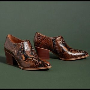 Franco Sarto Snake Print Leather Ankle Boots